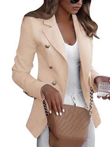 Shallood Frauen Damen Casual Einreiher Formal Long Blazer Jacke Slim Fit Mantel A Aprikose 34