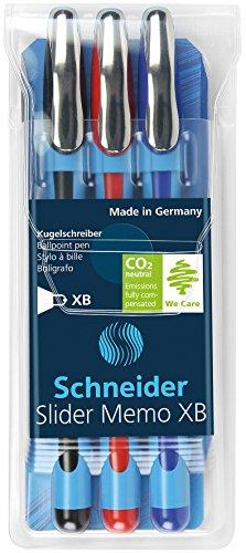 Schneider Slider Memo XB Ballpoint Pen, 3-Pack, Black/Blue/Red (150293) Photo #6