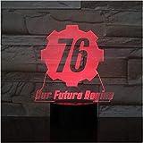 Fallout 76 Nuestro futuro comienza USB 3D LED Luz nocturna Niños Niño Niños Regalos para bebés Luces decorativas Juego Lámpara de mesa