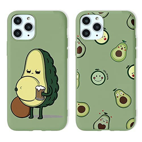 Yoedge 2 Piezas para Apple iPhone 7 Plus / 8 Plus Funda,Pasto Verde Silicona Carcasa Mate Suave TPU Protección,Ultra Slim Anti Choque Anti Arañazos Case Funda para iPhone 8 Plus 5,5 Pulgada,Aguacate