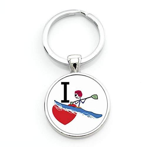 Schlüsselanhänger, lässig, Sport, Cano, Slalom, Kajak, Vintage-Stil, für Damen und Herren