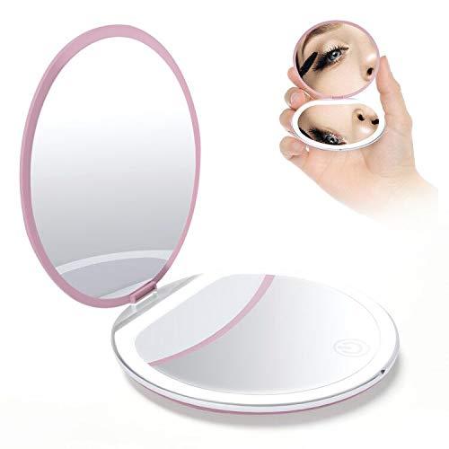 BENMA Kosmetikspiegel mit LED Licht, 10X/ 1X Vergrößerung Make Up Spiegel, Doppelseitiger Schminkspiegel Beleuchtet mit 3 Dimmbarer Helligkeit Taschenspiegel für Unterwegs (Rosa)