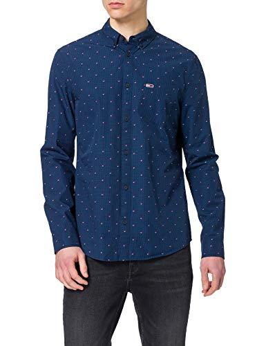 Tommy Jeans Herren TJM Dobby Shirt Hemd, Marineblau (Twilight Navy), M