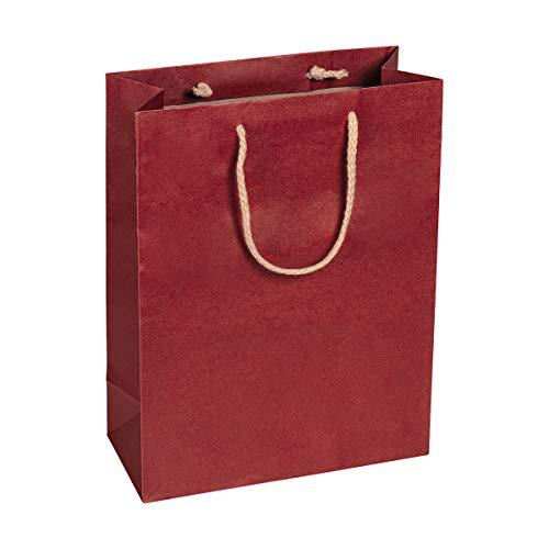 Papiertragetasche Rot, 22 x 29 x 10 cm, mit Baumwollhenkel Papiertasche, Geschenktüte Kraftpapier - 12 Stück/Pack
