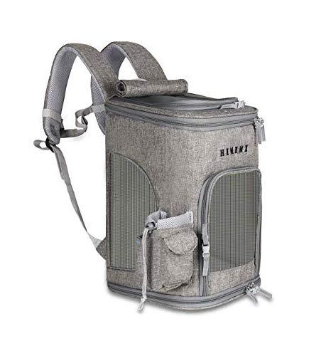 HIKEMAN Haustier-Rucksack für kleine Hunde, Katzen, Kaninchen, abschließbarer Reißverschluss, atmungsaktives Netz-Oberteil, zum Öffnen, faltbar, wasserdicht (Grau)