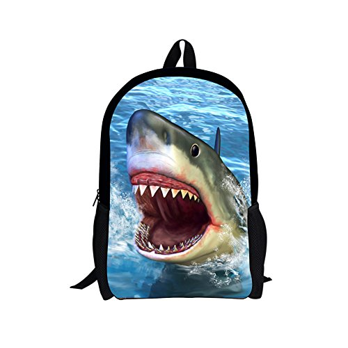 CHAQLIN Hai-Rucksack für Jungen und Mädchen, Schultasche, Rucksack, Büchertasche, Teenager, Blau