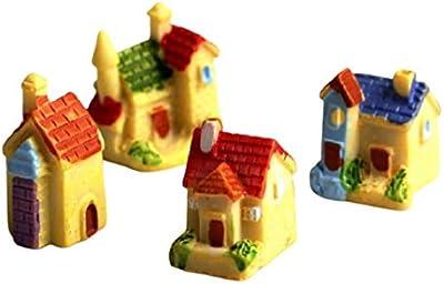 BHOOLU&GOOLU Colorful Mini Cottage Villadom House Showpieces - 4 pcs/Set