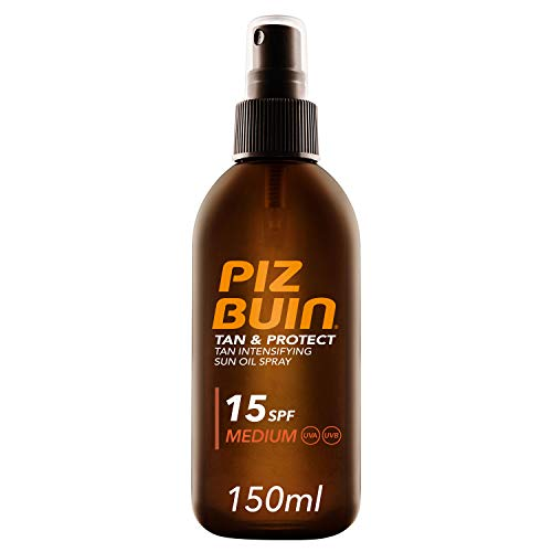 Piz Buin, Tan & Protect, Aceite en Spray Acelerador del Bronceado SPF 15 Protección Media, 150 ml
