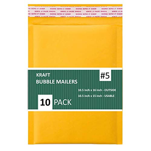 SALES4LESS #5 Kraft Bubble Mailers 10.5x16 Inches Shipping Padded Envelopes Self Seal Waterproof Cushioned Mailer 10 Pack, Gold (KBMVR_10.5X16-10)