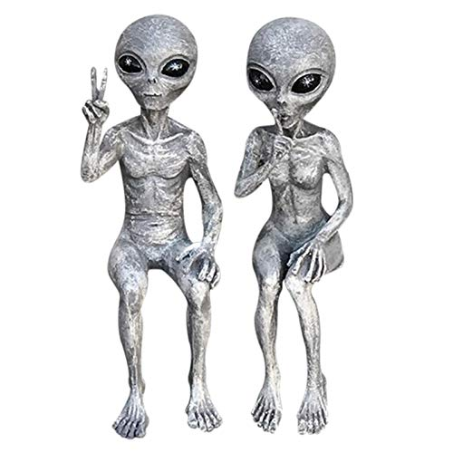 Garden Ornaments Set of 2 Art Outer Space Alien Grays Peace Dude Shelf Sitters Statue Figurine Home Indoor Outdoor Decoration Figurines Home Silver (A + B)