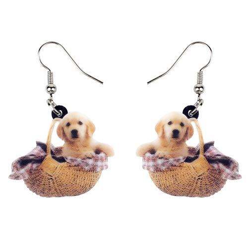 Dames Oorbellen Acryl Sweet Golden Retriever Hondenmand Oorbellen Dangle Drop Fashion Cute Animal Jewelry