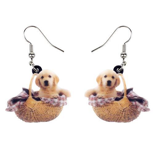 Orecchini Donna Orecchini in Acrilico per Cani Golden Retriever con Ciondolo A Forma di Ciondolo E Gioielli con Animali Carini
