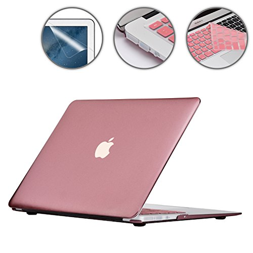 i-Buy Hard Shell Case Cover Compatible with MacBook Air 13 inch A1369 A1466 (2010-2017 Release) + Keyboard Cover + Screen Protector +  Dust Plug - Rose Gold