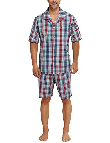 Seidensticker Herren Zweiteiliger Schlafanzug Pyjama kurz, Rot (Rot 500), Small (048)