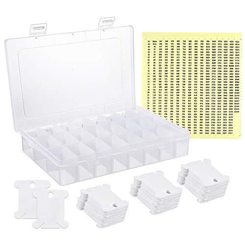 Caydo - Juego de bobinas de hilo para bordar, 124 unidades, con caja de almacenamiento organizadora y 552 pegatinas de números