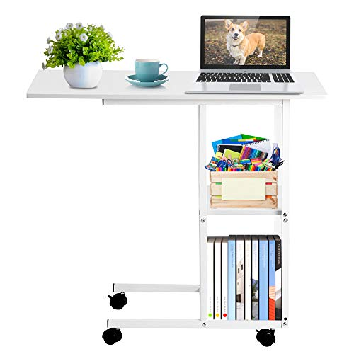 Home Office Portable Mobile Over Bed Table, Moveable Bedside Laptop Workstation, Sofa Couch Rolling Wheel Laptop Computer Desk, Moveable Computer Desk with 2 Tier Storage Shelf