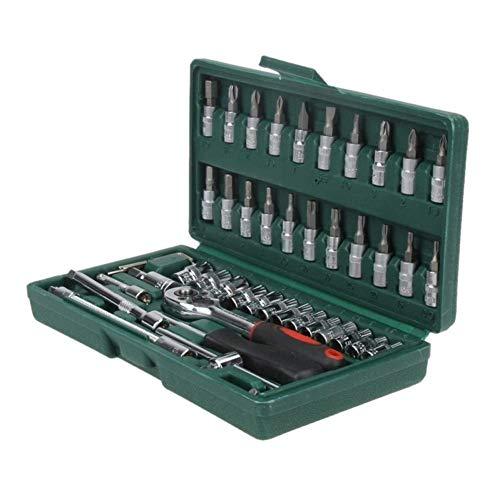 DXX-HR Llave caliente profesional 46 unids Llave Socket Set 1/4 'Destornillador Llave de trinquete Kit de herramientas de reparación de coches combinación mano herramientas herramientas de reparación
