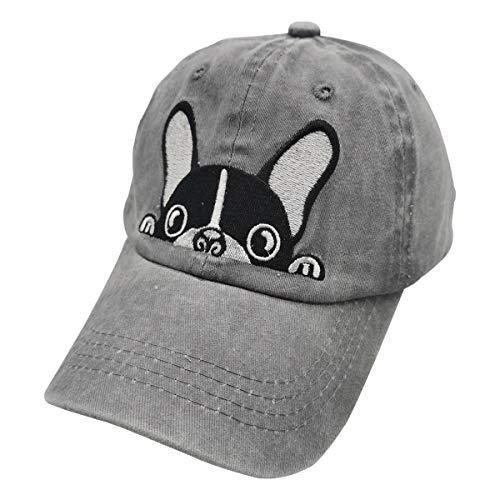 Waldeal Boys' Embroidered Cartoon Boston Terrier Bulldog Vintage Distressed Dad Hat Kids Baseball Cap Grey