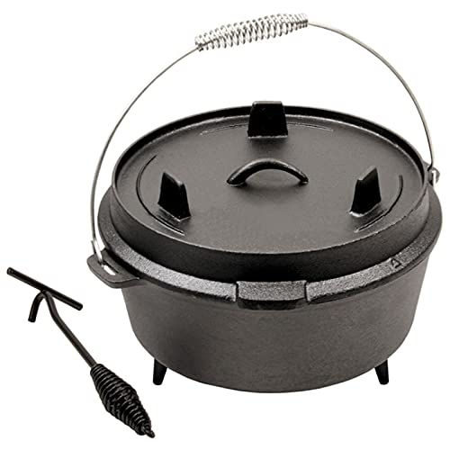 Women's Health Cast Iron Pot,Cast Iron Seasoned Casserole Pot,with Lid Lifter Handle Stand Dual Lid for Home Cooking BBQ Baking