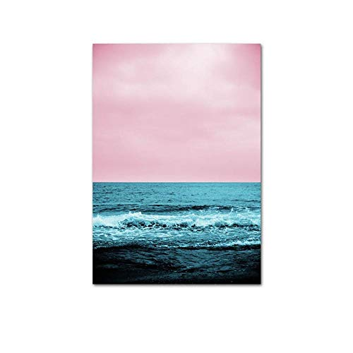 U/N Rosa Ozean-Strand-Palmen-Leinwand-Plakat Nordische Natur-Seestück-Wandkunst-Druck-Malerei Hauptdekoration Bild-5