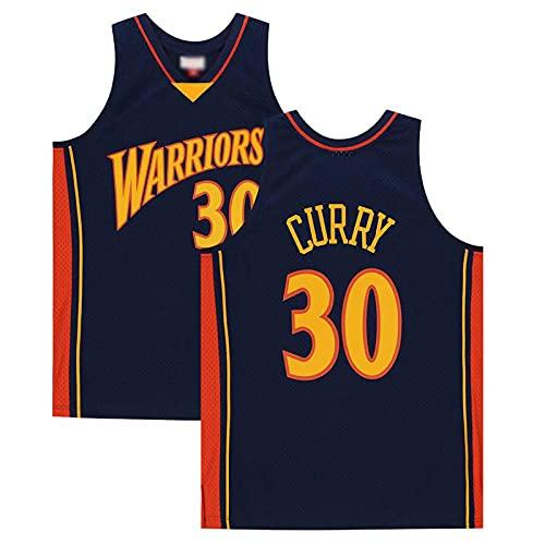 paglutaw Hombres Curry Entrenamiento de Baloncesto Guerrero Jerseys Transpirable Deportes NO.30 Azul marino de manga corta