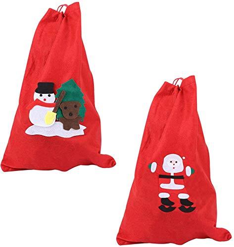2 stuks Christmas Santa Zakken Trekkoord Canvas Gift Bag Gift Treat Bags voor Xmas Kousen Kleinigheid Presenteert Houder Cadeaupapier 56X40CM