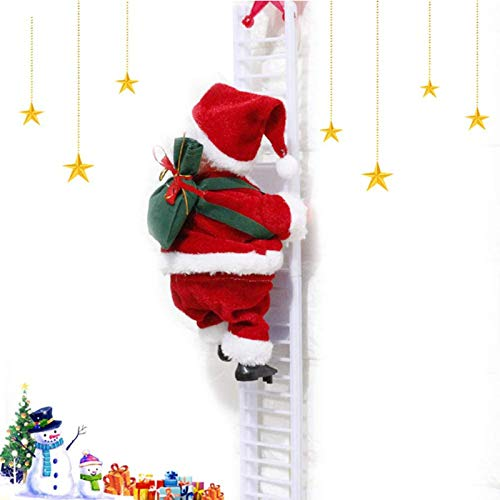 Santa Claus Climbing Ladder,Santa Claus Christmas Figurine,Weihnachtsmann Auf Leiter Kletternder,Santa Claus on Ladder,Electric Climbing Ladder, Weihnachtsbaumschmuck,Christmas Figurine Hanging(A-a)