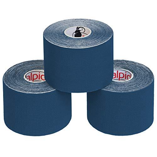 BB Sport 3 Rollen Kinesiologie Tape 5 cm x 5 m E-Book Anwendungsbroschüre Elastisches Tape Set, Farbe:dunkelblau