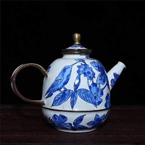Statues,Sculptures Ornaments Statues And Figurines Collection Hand Made Red Copper Painting Flower Bird Teapot Water Pot Gift Fengshui Home Decoration
