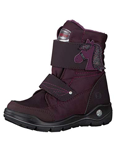 RICOSTA Mädchen Winterstiefel GAREI, WMS: Mittel, wasserfest, Freizeit leger Winter-Boots Outdoor-Kinderschuhe warm Kind-er,brombeer,33 EU / 1 UK