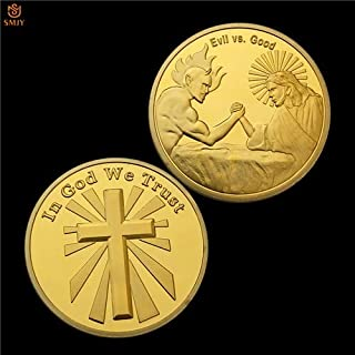 Momoso_store God of Justice Jesus Against Evil Satan Christian Gold Plated Metal Challenge Coin American Souvenir Coin-in God We Trust, repilica Toys