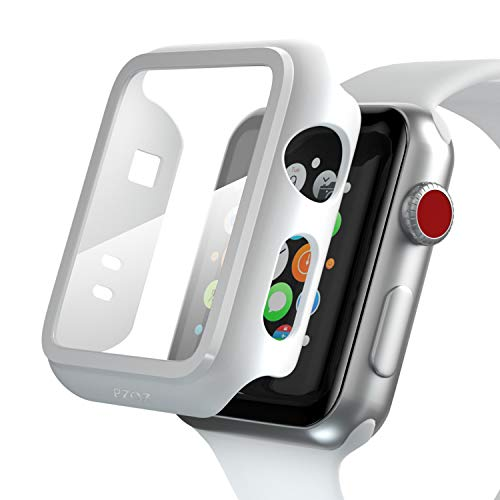 pzoz Compatible Apple Watch Series 2 / Series 3 Case with Screen Protector 42mm Accessories Slim Guard Thin Bumper Full Coverage Matte Hard Cover Defense Edge for Women Men New Gen GPS iWatch (White)