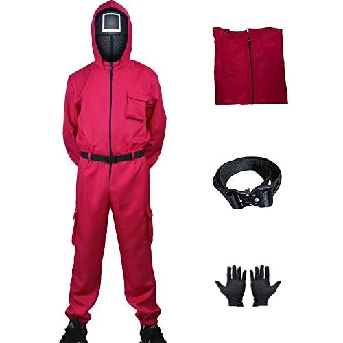 3 Pcs Squid Game Cosplay Roter Overall (Jumpsuits + Gloves + Belt) ,Tintenfisch Spiel Kostüm Anzug, 2021 Squid Spiel Rollenspiel Kostüm Mit Maske dreieck, Gürtel,Unisex Overall Cosplay Komplettes Set