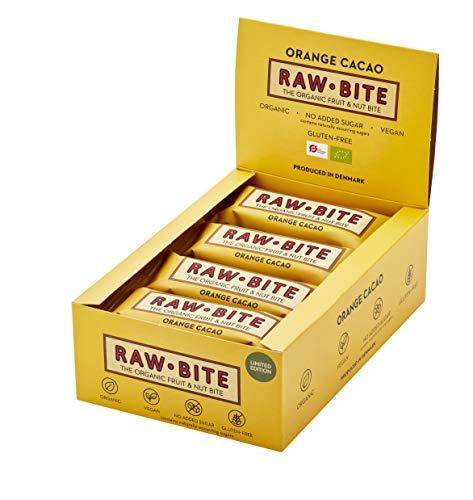 RAWBITE ORANGE CACAO in der 12er Box - Vegan, glutenfrei & ohne Zuckerzusatz (enthält von Natur aus Zucker) – Bio Frucht-Nuss-Riegel mit Orange & Kakao (12 x 50 g)