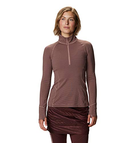 Mountain Hardwear Ghee Long-Sleeve Quarter Zip Women's Lightweight Performance Pullover for Running, Cycling, and Everyday Use - Smoky Quartz - X-Small