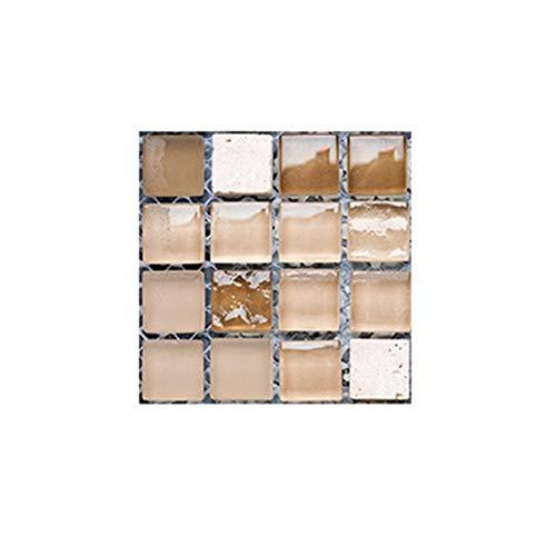 Hphore 10 PCS Fliesenaufkleber 10x10cm Selbstklebende Klebefolie 3D Fliesen Aufkleber Klebefliesen Fliesendekor Fliesenfolie Bordüre Mosaikfliesen Wasserdicht Küche Badezimmer