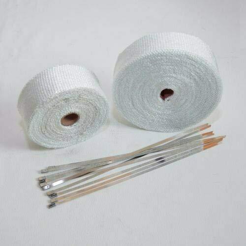 15m Hitzeschutzband für Auspuff, Krümmer, Fächerkrümmer bis 1260 Grad weiß