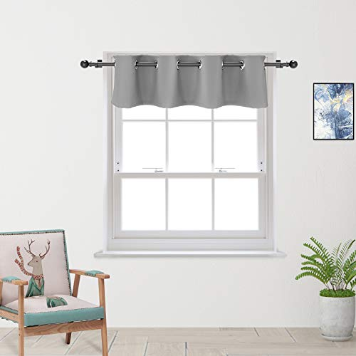Grey Valance Curtain 16 inches Long Living Room Darkening Grommet Top Triple Weave Window Curtain Valance Bedroom 1 Panel Gray