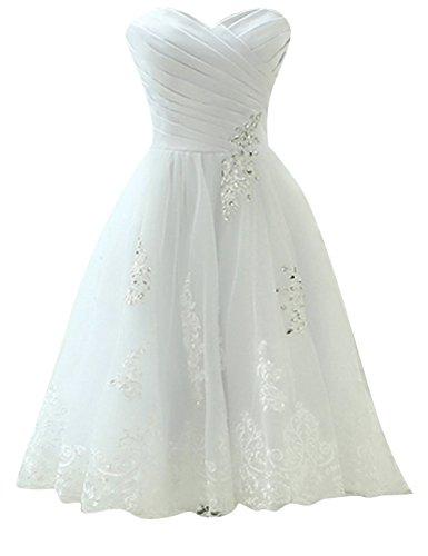 Brautkleid Hochzeitskleider Knielang Damen Kleid A Linie Organza mit Applikationen Weiß EUR44