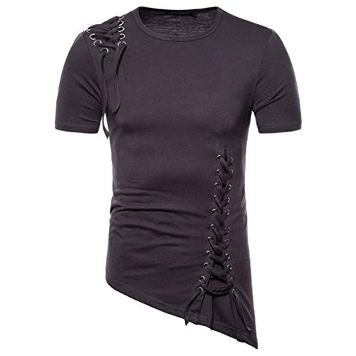 VEZAD Men Summer New Short Sleeve T-Shirt with Irregular Design Knitting Braided Rope Blouse Dark Gray