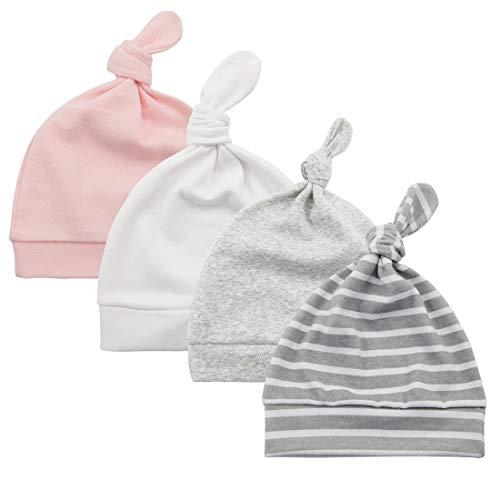 Durio Beanie Beanies Baby Essentials Baby Girl Essentials Winter Hat Baby Winter Hats F Pink & White & Grey & Grey Stripe