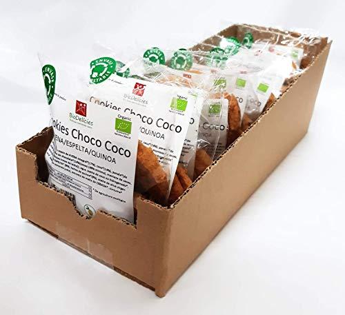 Cookies ecológicas de Avena, Espelta y Quinoa con COCO y CHOCOLATE (pack de 15 bolsitas compostables de 70 gr, peso total 1.050 kg)