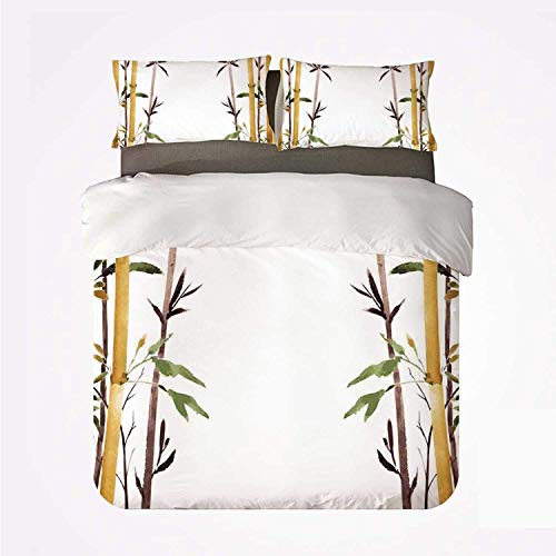 Juego de Funda nórdica Bamboo House Decor Warm Juego de 3 Camas, Bamboo Grove Calma tu Mente Despacio Zen Relax Dibujado a Mano Estilo Obra para la habitación