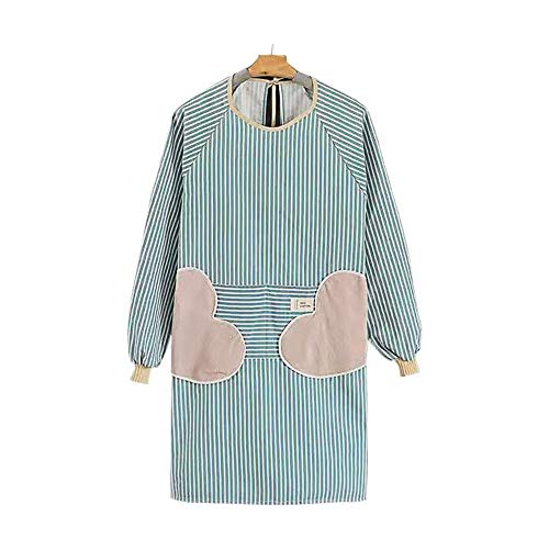 Cotton Linen Towel Long Sleeve Aprons for Women, Cooking Gardening Chef Painting Cute Work Apron For Teen Girls Adult Smock Dress (Towel strip blue)