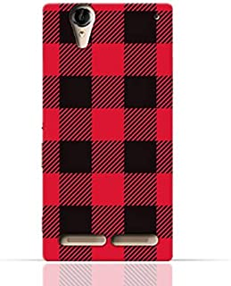 Sony Xperia T2 Ultra TPU Silicone Case with Red and Black Plaid Fabric Design