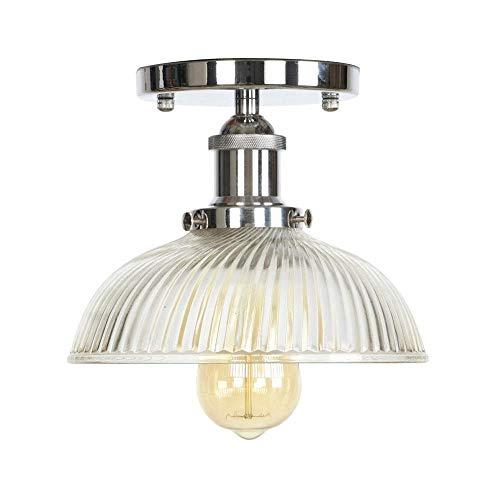 American Loft industriële Decor LED Plafond Lamp voor Woonkamer Stripe Pot Deksel Glas Edison Vintage Plafond Lamparas De Techo (Kleur : Zwart)