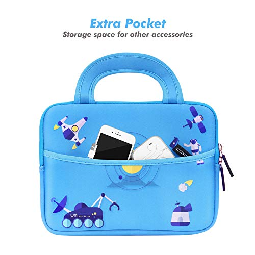 MoKo 7-8 Inch Kids Tablet Sleeve, Portable Neoprene Carrying Case Bag Fits Fire HD 8 Kids Edition 2018, Fire 7 Kids Edition, Fire HD 8 Plus/Fire HD 8 2020, Fire 7, Kindle E-Reader, Space Light Blue