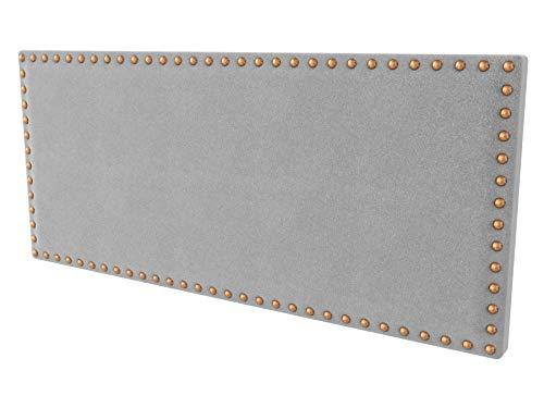LA WEB DEL COLCHON - Cabecero tapizado Tachuelas para Cama de 150 (160 x 70 cms) Gris Claro Textil Suave | Cama Juvenil | Cama Matrimonio | Cabezal Cama |