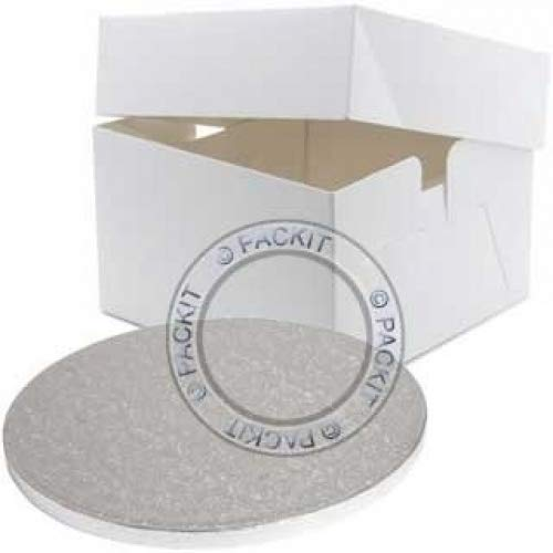 "PackitUK 3835 12"" Square Cake Box with 12"" Round Cake Drum"