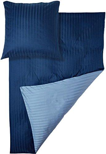 Meradiso® Satin-Wendebettwäsche (100% Baumwolle) mit Damast Streifen (135 x 200 cm, hellblau/dunkelblau)